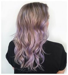 """This lil lady had never had """"fun"""" color, but for her Hawaii trip she wanted a VERY subtle lilac... She was a little shocked being it was her first time with color on her blonde balayage, but it was SO cute on her  just overlayed a dot or two of @pravana violet mixed into tons of conditioner  now she's cool for the summer ☀️"""