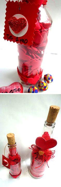 Te enseño a decorar una botella vacía para convertirla en un lindo, sencillo y hermoso mensaje de amor personalizado.