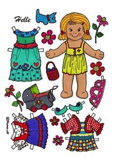 Karen`s Paper Dolls: Helle 1-2 Paper Doll in Colours. Helle 1-2 påklædningsdukke…