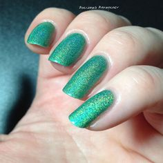 SOLD to Kiki! Green Opal Glow -HTF Lilypad Lacquer $22 shipped, Matching ring I made is included, I paid $26 for the polish alone. Used on 2 accent nails, and used to make the ring. fill line above shoulders SOLD