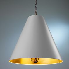 Oversized Cone Paper Shade Pendant - 6 Colors An oversized cone paper shade in modern trend colors will give your modern space a punch of interest. Hang two over your kitchen island or long Dining table.