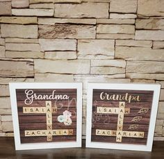 Scrabble Tile Frame for Grandparents | Etsy Scrabble Letters, Scrabble Tiles, Frame Sizes, Wall Spaces, Accent Colors, Grandparents, Shadow Box, Brown And Grey, Natural Wood