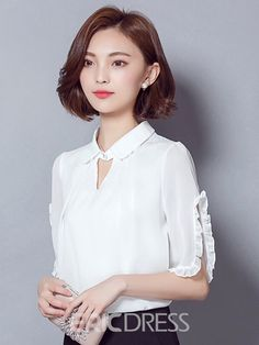 70 Elegant Job Work Outfit Ideas to Look Attractive - Kurti Sleeves Design, Kurti Neck Designs, Blouse Designs, Sexy Blouse, Blouse Styles, Beautiful Asian Girls, Dress Patterns, Blouses For Women, Korean Fashion