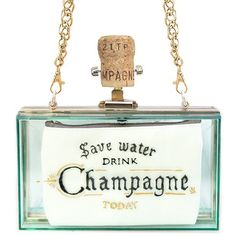 Save Water Drink Champagne Clutch Transparent Green featuring polyvore, women's fashion, bags, handbags, clutches, green handbags, transparent purse, transparent handbags, buckle handbags and lucite handbags