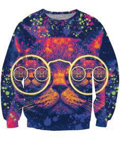 Hipster Cat Glow Party Crewneck Sweatshirt