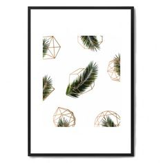 Palm + Geometry V2 Framed Print - geometric palm leaf art print