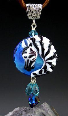African Zebra custom handmade lampwork horse pendant by LandSArts, $140.00