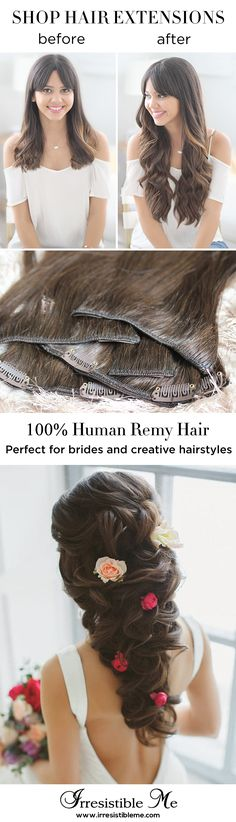 Add length and volume in just minutes with Irresistible Me 100% human Remy clip-in hair extensions and try any hairstyle you want without any damage to your own hair. They can be dyed, cut and heat styled. You can choose the color, length and weight. Perfect for bridal hairstyles