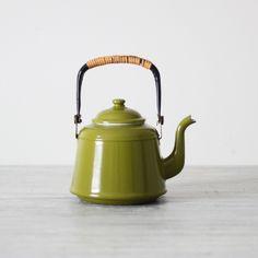 olive green enamel teapot