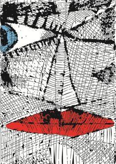 Poster Modroocko (Blue Eyed), originally drypoint Blue Eyes, Posters, Superhero, Fictional Characters, Art, Poster, Art Background, Kunst, Performing Arts
