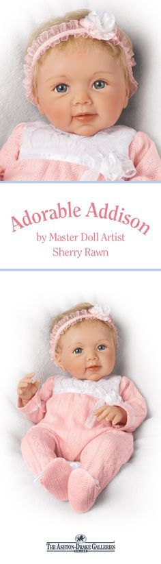 Meet Adorable Addison, an incredibly lifelike Collector's Edition by Master Doll Artist Sherry Rawn. From her soft RealTouch® skin to her hand-rooted hair, this weighted and poseable cutie is sure to charm. Plus, she arrives in a pretty pink outfit that's perfect for cuddling close! Shop Now! Little Ones, Little Girls, Baby Girl Dolls, Doll Stands, Beautiful Dolls, Pretty In Pink, Cuddling, Cute Babies, Teddy Bear