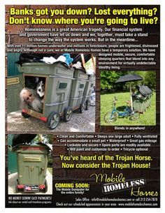 Mobile Homeless Homes, A Trojan House & Outraged Homeless Muppets Are Planning To Converge on Goldman Sachs Community Service Projects, Blessing Bags, Mobile Living, Cute House, Losing Everything, Helping The Homeless, How To Run Faster, Emergency Preparedness, Outdoor Camping
