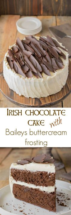Irish chocolate cake with Baileys buttercream frosting