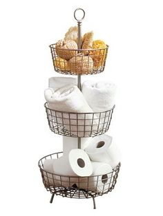 organize bathroom I would put washcloths on top, tp in middle and munchkins bath toys in bottom with a mat underneath so it could drain.