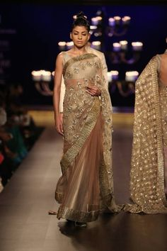 Manish Malhotra at India Couture Week 2014 - gold and beige saree