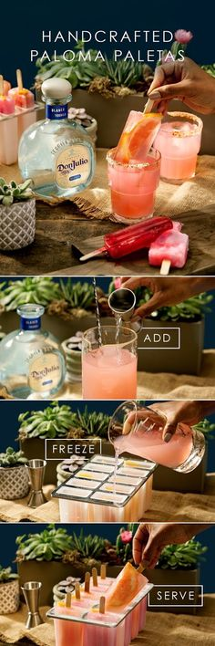 This enjoy handcrafted paletas made from our classic Don Julio Paloma. Start by adding oz Don Julio Blanco, 4 oz grapefruit soda, oz fresh lime juice and 1 big slice of grapefruit into a vessel and gently stir. You can pour ove Party Drinks, Cocktail Drinks, Fun Drinks, Cocktail Recipes, Alcoholic Drinks, Tequilla Cocktails, Tequila Mixed Drinks, Grapefruit Soda, Drink Specials