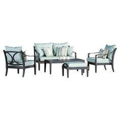 5-Piece Astor Indoor/Outdoor Conversation Group Set in Bliss Blue