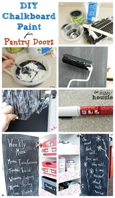 How to make your own DIY Chalkboard Paint  - and chalkboard painted Pantry Doors - at The Happy Housie Diy Chalkboard Paint, Chalkboard Doors, Chalk Paint, Painted Pantry Doors, Ideas Prácticas, Painted Boards, Diy Furniture, Painting Furniture, Furniture Makeover