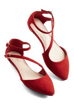 A Day in Your Shoes Flat in Rouge. Fasten the gold buckles of these red dOrsay flats to see what charming things come of an afternoon in your new kicks! #red #wedding #modcloth