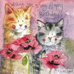 Cats and Poppies Birthday Card by Alex Clark, Pretty Cat Greeting Card | eBay
