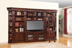 "Parker House Wellington 6 Piece Library Bookshelf with 60"" TV Console - Beck's Furniture - Wall Unit Sacramento, Rancho Cordova, Roseville, California"