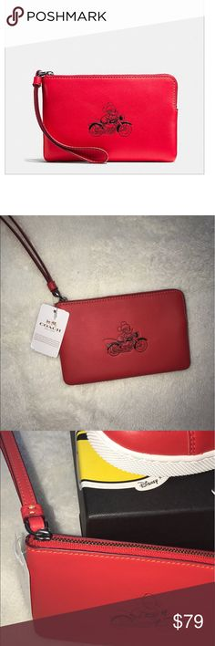 🆕Authentic Coach Mickey Mouse Small Wristlet Bundle and Save 🆕Price Firm unless bundled: Small zip closure Color Red, 2- slot card holder inside.Shipped in online original packaging Coach Bags Clutches & Wristlets