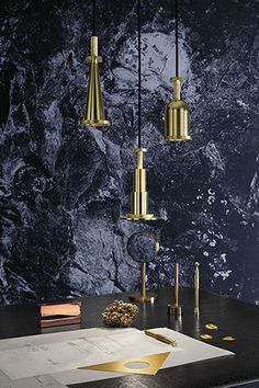 Cog Pendants with Cog & Cube desk accessories. Photography by Peer Lindgreen.