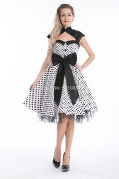ping R1019 Rockabilly dress 50s White Black Polka Dot Retro Dress SIZE 8-24 Alternative Measures