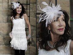 Flapper dress, fascinator/hat, earrings, necklace, and bracelets from Twigs.  http;//www.twigs.ca Twigs Lookbook
