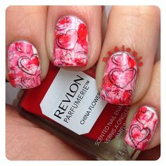 Distressed nails for Valentine's Day using Ciate Kiss Chase, Revlon China Flower and Revlon Pink Pineapple topped off with China Glaze Fairy Dust. Stamped using Bundle Monster BM-317 in Funky Fingers Dark Knight.