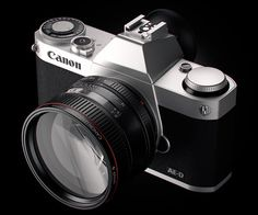 Canon AE-D Concept camera - This camera NEEDS to happen and then I need to suddenly be able to afford it. Full frame sensor in a 3/4s body. 50mm f/1.0 kit lens... Golly