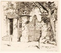 Alfred Hutty, Etching of Gate