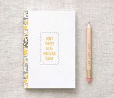 Handmade Mini Journal & Pencil Set  Dont Forget by HappyDappyBits, $8.00