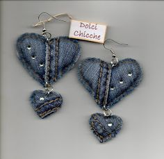 Creative and Great Crochet Sweet-Chicche Ohrringe - recycle - . - Creative and Great Crochet Sweet-Chicche Ohrringe – recycle – - Denim Earrings, Bar Stud Earrings, Unique Earrings, Textile Jewelry, Fabric Jewelry, Beaded Jewelry, Handmade Jewelry, Artisanats Denim, Denim Crafts