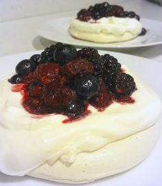 Meringues Topped with Lemon Cream and Fresh Berries