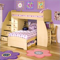 Kids Loft Bed | Stuff like this is so awesome. I hope we do this for our kids instead of boring bunkbeds.