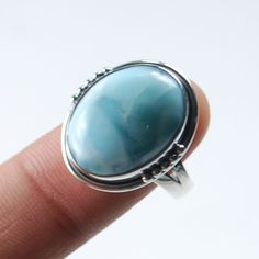 Natural Larimar Dominican Gemstone 925 Solid Sterling silver Ring US Size-9 #Rananjay #HandmadeSolitairering