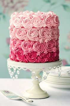 Buy Pink ombre cake by RuthBlack on PhotoDune. Ombre cake in shades of pink Pretty Cakes, Beautiful Cakes, Amazing Cakes, Stunningly Beautiful, Beautiful Things, Torte Rose, Cake Roses, Fondant Flowers, Sugar Flowers