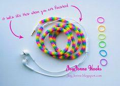 JoyJonne Hooks Pimp your earphone with loom elastics, loom Tutorial, loom bandjes, DIY Rainbow Loom Patterns, Rainbow Loom Creations, Rainbow Loom Bands, Rainbow Loom Charms, Rainbow Loom Bracelets, Rubber Band Crafts, Rubber Bands, Spool Knitting, Loom Craft