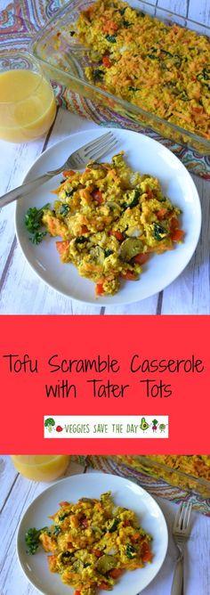 Tofu Scramble Casserole with Tater Tots