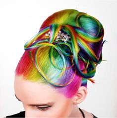 Now this is what I call rainbow hair I would totally do this to my hair. Creative Hairstyles, Cute Hairstyles, Locks, Coloured Hair, Rainbow Hair, Rainbow Stuff, Rainbow Makeup, Rainbow Brite, Hair Blog
