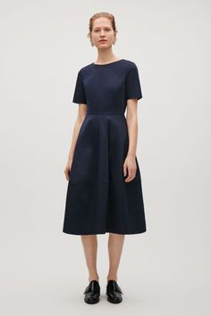 COS image 1 of Dress with stitched detailed hem in Navy