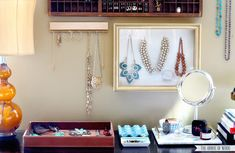 Store your bangles and beads with these clever DIY jewelry organizing ideas. Brilliant and beautiful ways to display your jewels.