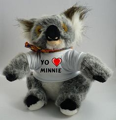 Koala personalizada de peluche (juguete) con Amo Minnie en la camiseta (nombre de pila/apellido/apodo) #camiseta #starwars #marvel #gift