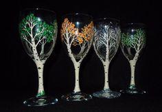 4 season hand painted wine glasses/ Aspen Trees