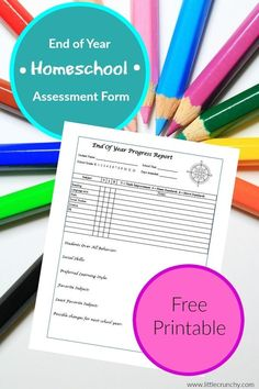 Homeschool End of Year Homeschool assessment form report card - Free homeschooling printable -  Organization - Report Card - download PDF Customize