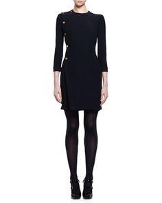3/4-Sleeve+Golden-Button+Dress,+Black+by+Alexander+McQueen+at+Neiman+Marcus.