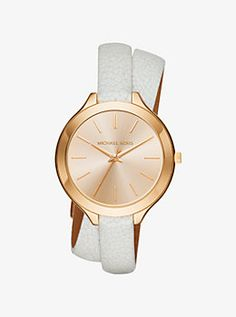 f3e5fb1fd5f4 Slim Runway Gold-Tone and Leather Watch by Michael Kors Wrap Watches