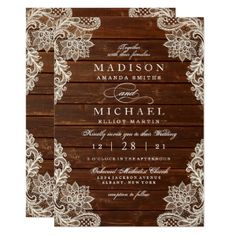 Rustic Floral Lace Wood Modern Wedding Invitation - script gifts template templates diy customize personalize special