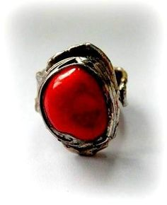 http://megasilver.pl/Pierscionek-p178 #ring #metalwork #coral, #handmade #red #stone #jewelry #jewellery